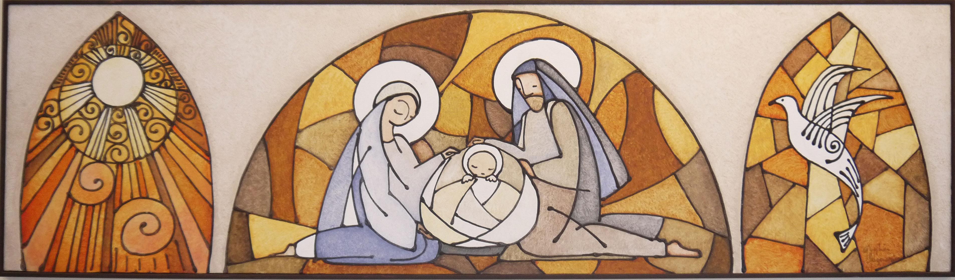 Presepe (Sacra Famiglia) 40x140 - Acrilico, stucco e sabbia su tela