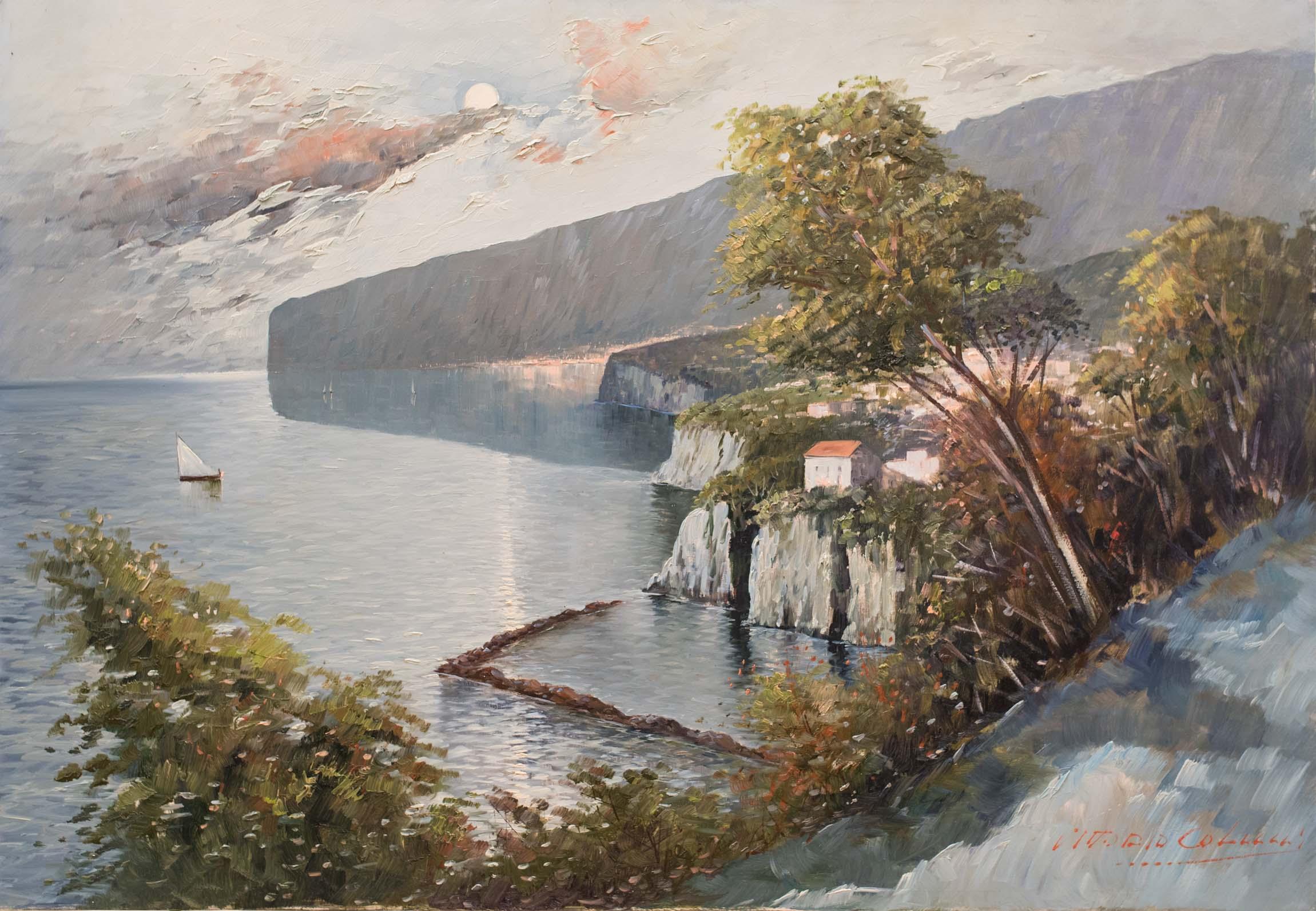 Vittorio Colucci cm 70x100 marina olio su tela