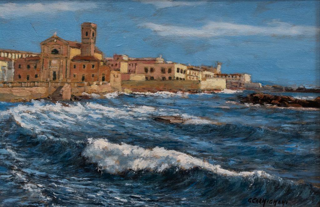G. Carmignani - Mareggiata di San Jacopo- cm 20x30 - olio su tavola