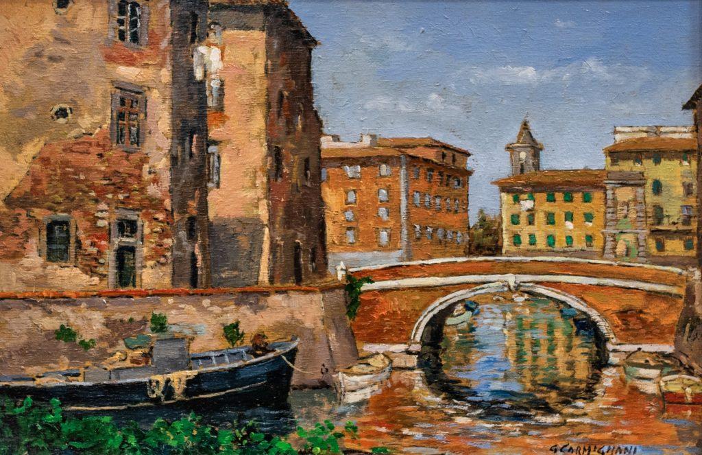 G. Carmignani - Rione La Venezia- cm 20x30 - olio su tavola