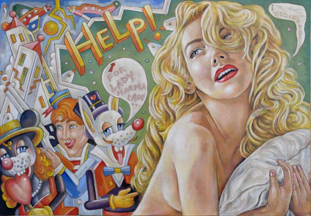 Christina Aguilera as Lady Marmalade - Roberto Sguanci - cm 70x100 - Olio su tela (Media)