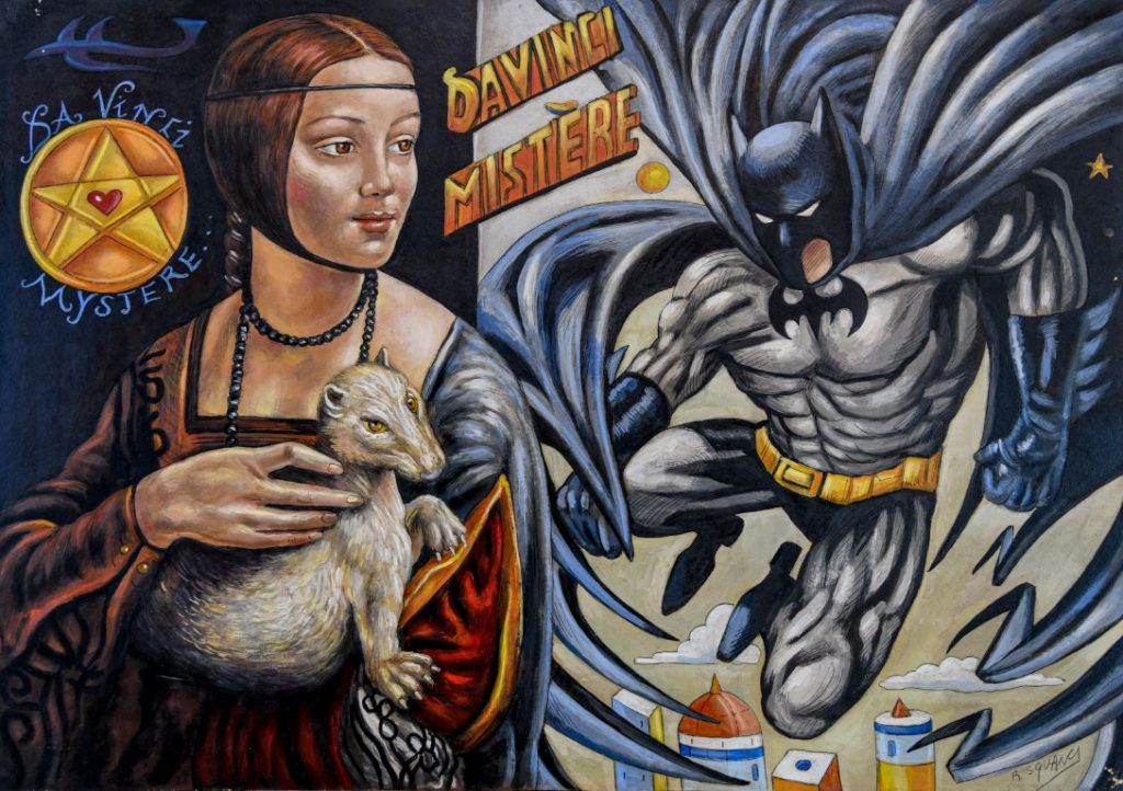 Il mistero Da Vinci La dama con l'ermellino e Batman - Roberto Sguanci - cm 70x100 - Olio su tela (Media)